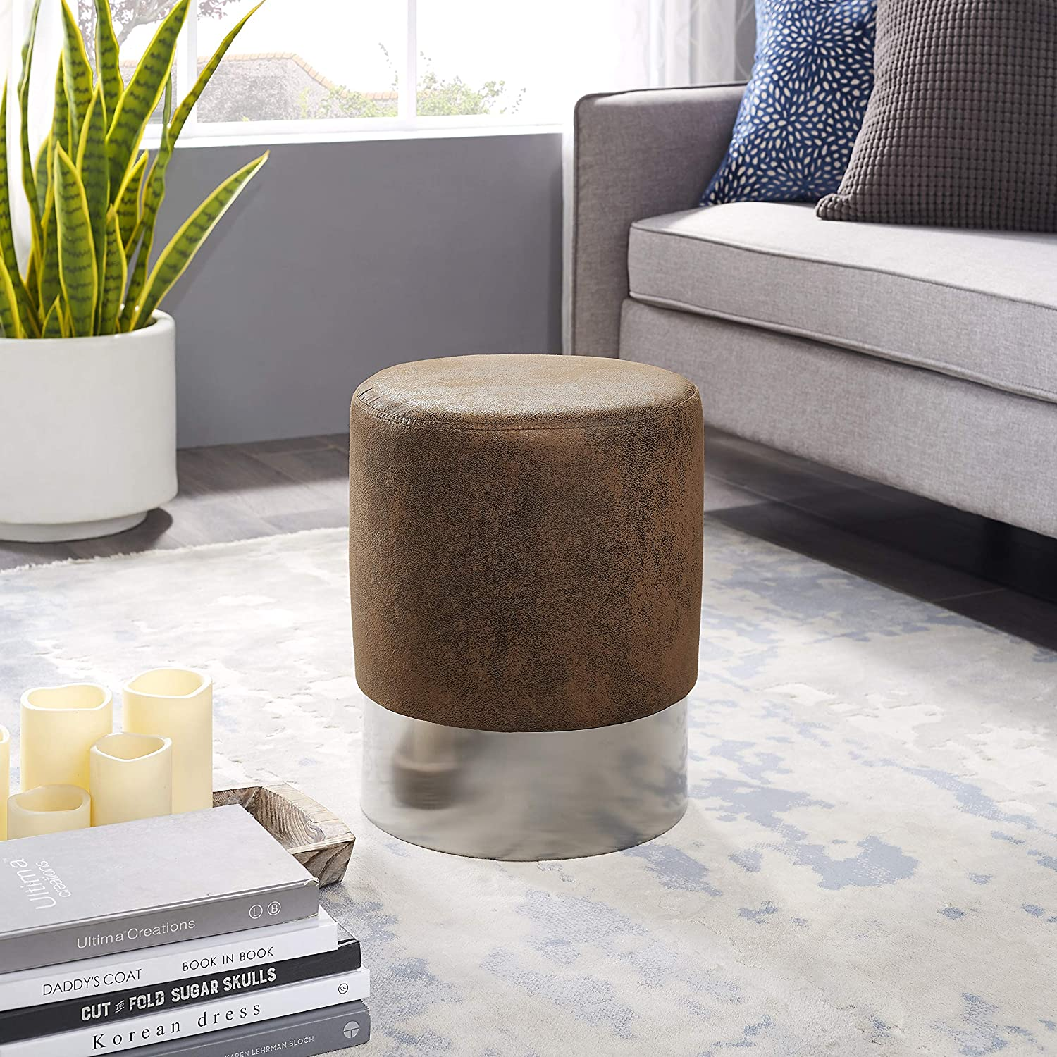 for the Living Room Bedroom and Kids Room Simpli Home Charlize Round Pouf Contemporary Modern Upholstered in Silver Faux Leather Footstool