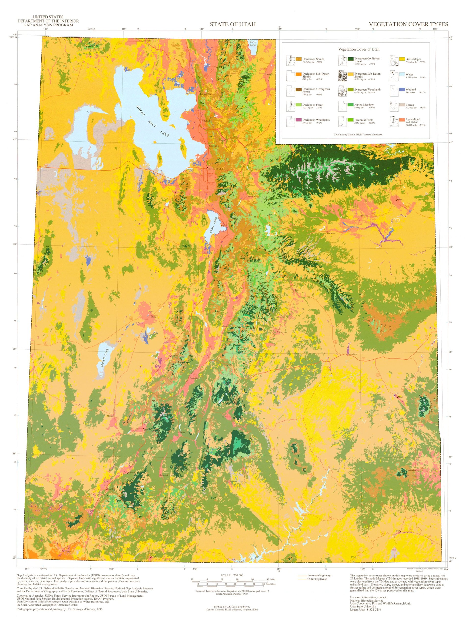State of Utah Vegetation Cover Types: U.S. Geological Survey ...