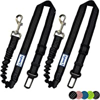 Zenify Dog Car Seat Belt Extendable Lead (2 Pack) - Bungee Leash for Dogs Puppies - Pet Adjustable Elastic Seatbelt…