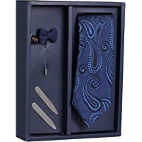Peluche The Lapiz Design Gift Box Includes 1 Neck Tie, 1 Brooch & 1 Pair of Collar Stays for Men