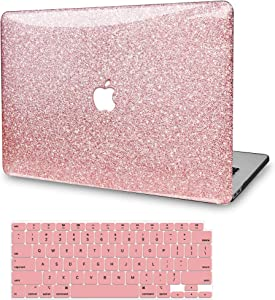 MacBook Pro 13 Inch Case 2019 2018 2017 2016 Release A2159 A1989 A1706 A1708, JGOO Glitter Sparkly Plastic Hard Shell Cover with Keyboard Cover for Apple Mac Pro 13 with/Without Touch Bar, Rose Gold