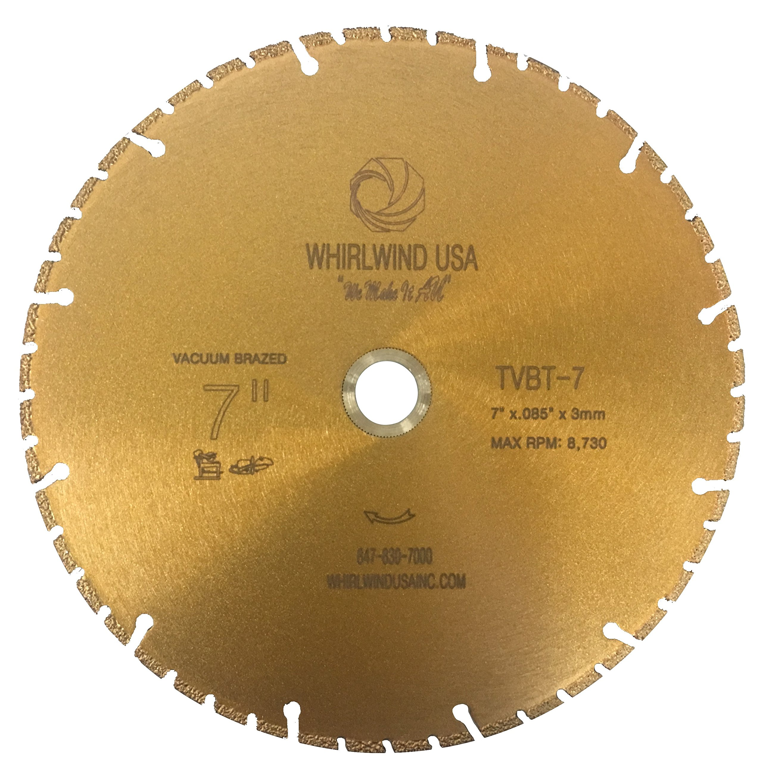 Whirlwind USA TVBT 7 in. All Purpose Metal Cutting Dry or Wet Cutting Vacuum-Brazed Segmented Diamond Blades for Metal and Plastic Materials (Factory Direct Sale) (7'')