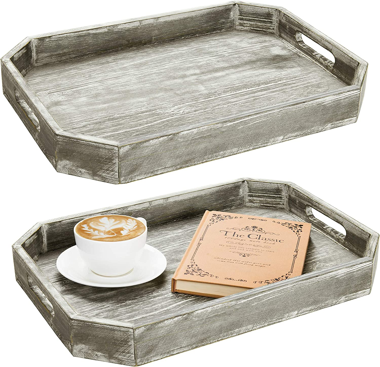MyGift Set of 2 Nesting Vintage Gray Wood Chalkboard Serving Trays ...