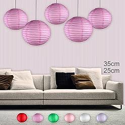 EinsSein 5er Mix Lampions rund 3X Medium (25cm) 2X Large (35cm) pink Hochzeit Wedding Laterne Papierlampion