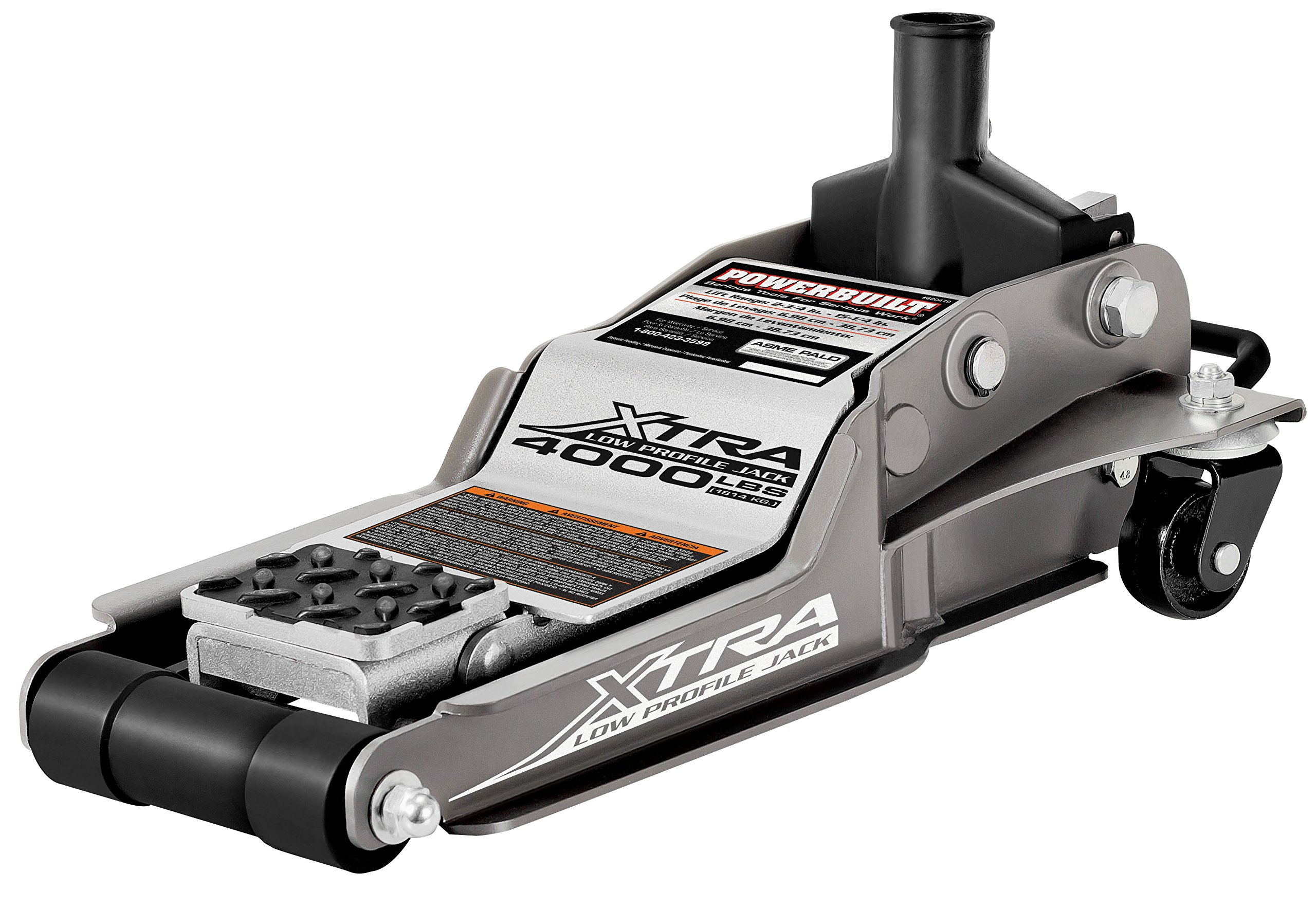 Powerbuilt 620479E Xtra Low Profile Floor Jack with Safety Bar - 2 Ton Load Capacity by Powerbuilt