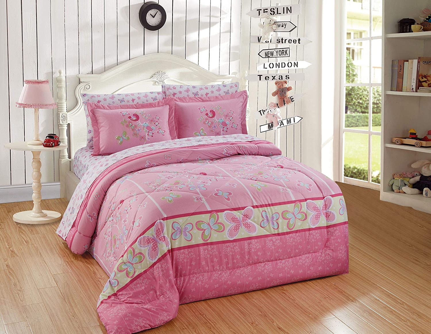 Kids Zone Home Linen 7pc Queen Comforter Set for Girls and Teens Tree Butterfly Pink Blue Green Butterflies Birds