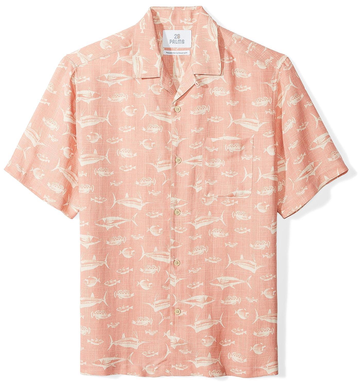 28 Palms Men's Relaxed-Fit Short-Sleeve Silk/Linen Hawaiian Shirt MPM25010