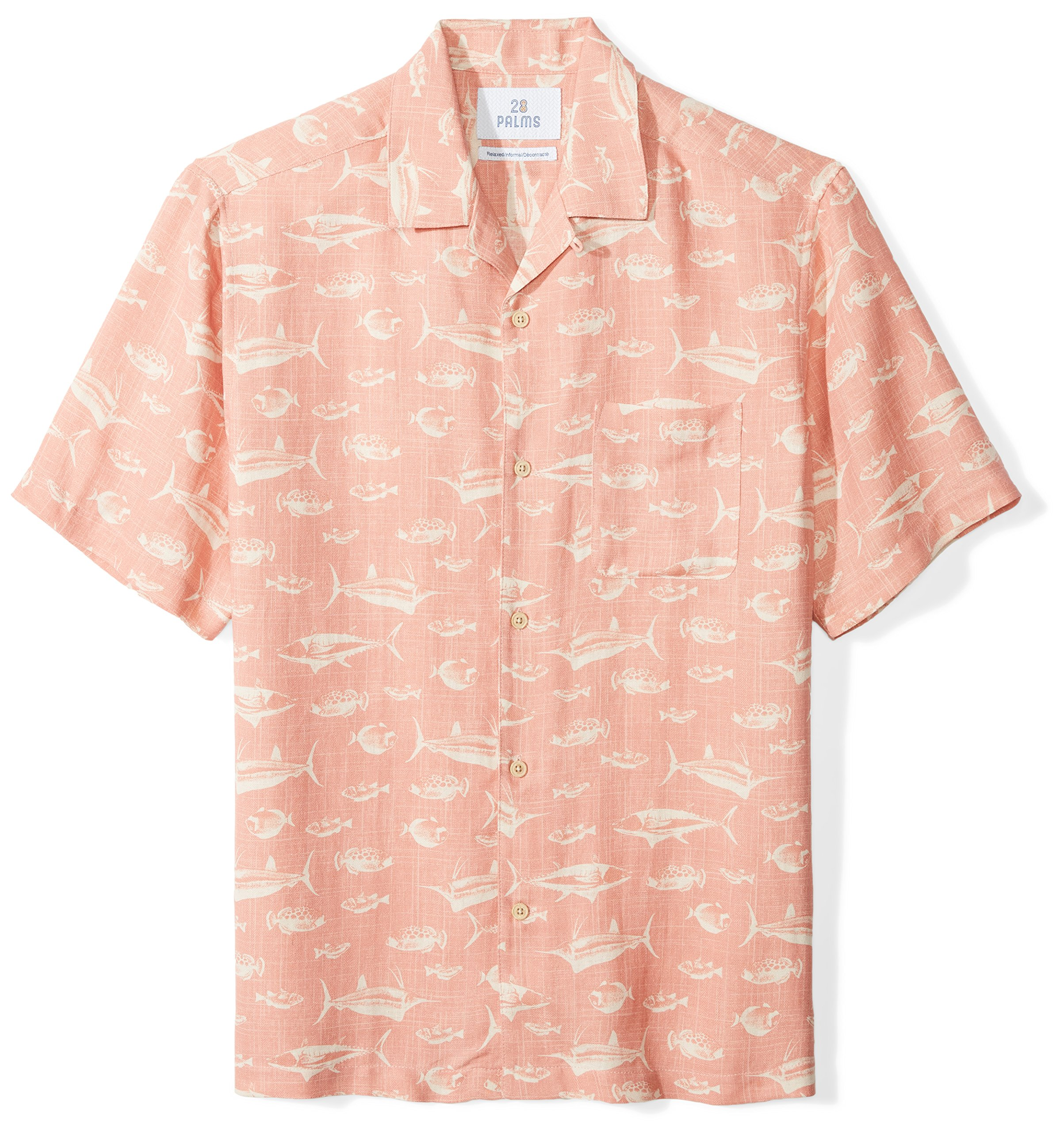 28 Palms Men's Relaxed-Fit Silk/Linen Tropical Hawaiian Shirt, Washed Pink Fish, Large