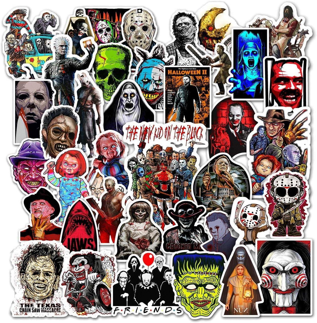 Kilmila Horror Sticker(50 pcs). Halloween Themed Terror Horror Movie Sticker Horror Gifts Toys for Kids Teens Car Window Laptop Phone Luggage Skateboard Graffiti