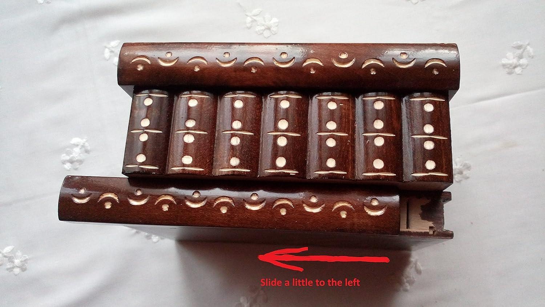 Caja puzzle nuevo grande marr/ón caja de joyas talladas caja m/ágica misterio caja de madera rompecabezas caja secreta trinket complicado caj/ón de madera caja escondida