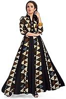 MT Printed Designer Maxi Gown style Kurta - Party wear long rayon beautiful womens wear kurti - Latest bollywood readymade western dress collection