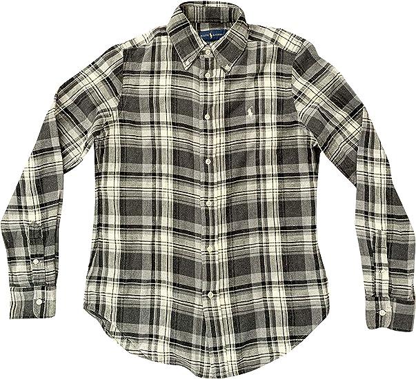 Polo Ralph Lauren camisa de franela a cuadros con botones para mujer - Gris - Small: Amazon.es: Ropa y accesorios