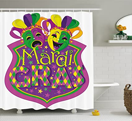 Ambesonne Mardi Gras Shower Curtain Comedy And Tragedy Masks With Festive Carnival Blazon