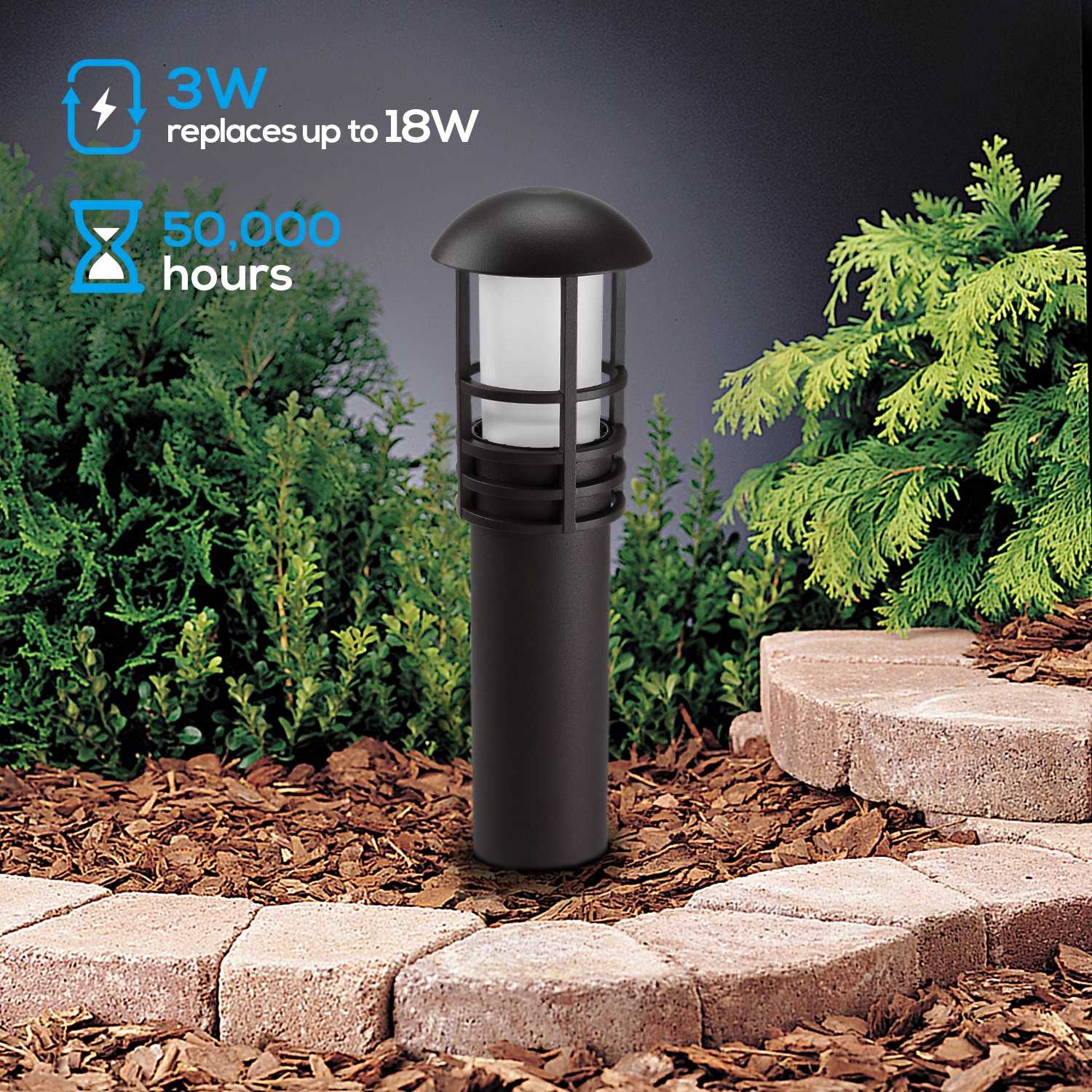 LEONLITE 3W LED Landscape Light, 18W Eqv, 12V Low Voltage, Waterproof, Aluminum Housing with Ground Stake, ETL Listed Outdoor Pathway Garden Yard Patio Lamp, 5000K Daylight, Pack of 12 by LEONLITE (Image #2)
