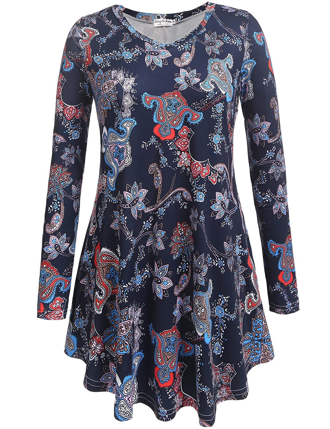 Women's V Neck Long sleeve Flowy Casual Tunic Tops Floral Shirts Loose Blouses CCX00457