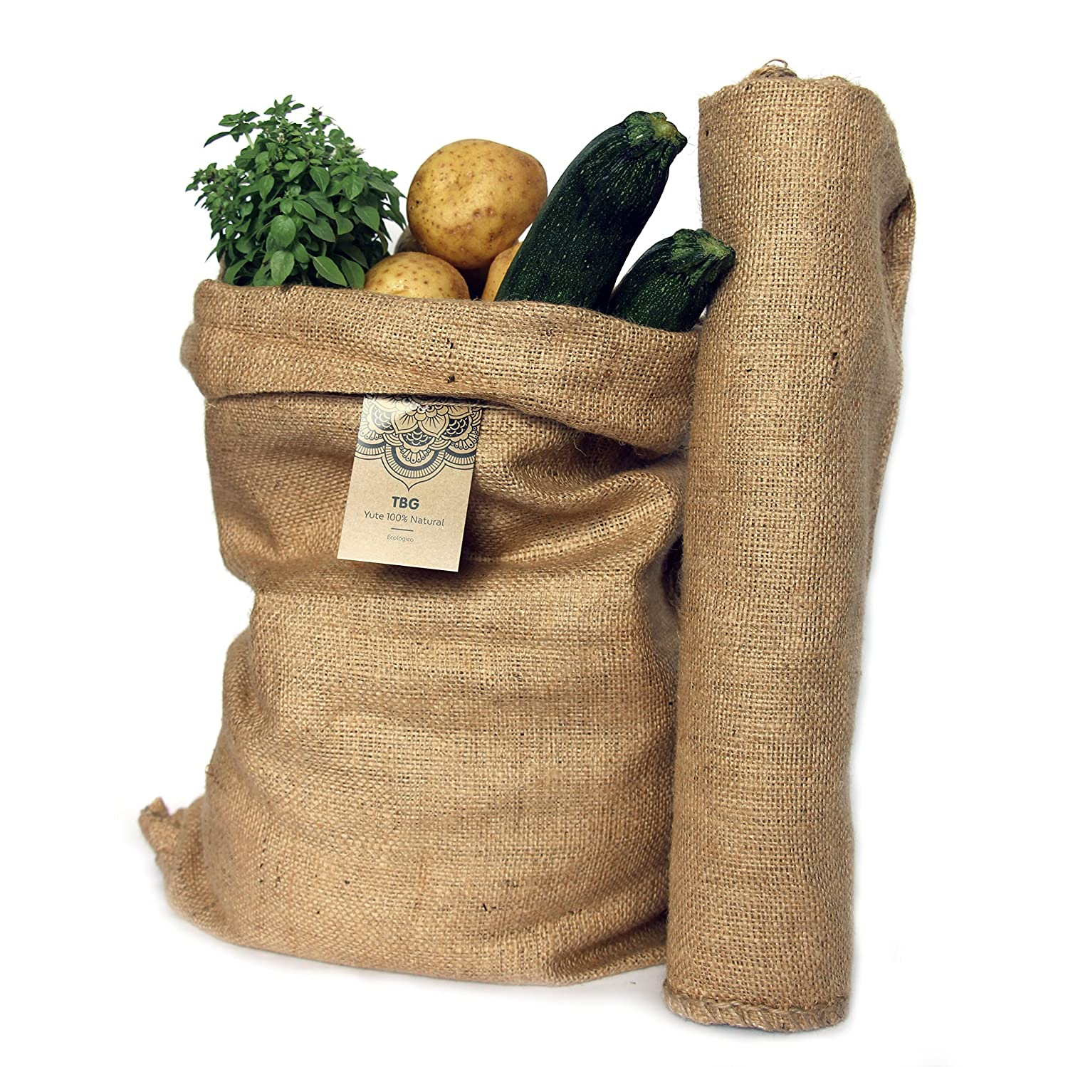 100% Natural Jute Large Bags – Pack 2 Bags Green. Ideal for Kitchen, Garden and Allotment Urban. Eco Bag for Vegetables, Salads and Vegetables. Organizer Rustic 65 x 47 cm