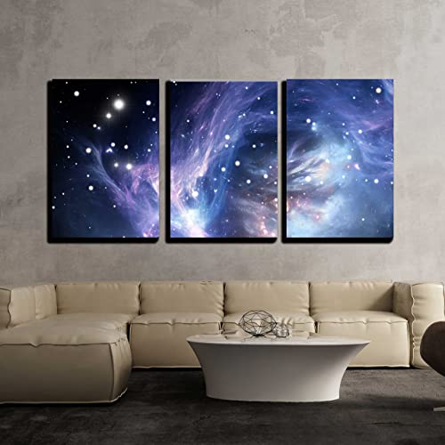 wall26 – 3 Piece Canvas Wall Art – Blue Space Nebula – Modern Home Decor Stretched and Framed Ready to Hang – 24 x36 x3 Panels