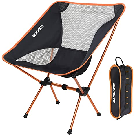 Ultralight Folding Camping Chair Portable Compact For Outdoor Camp Travel Beach Picnic Festival Hiking Lightweight Backpacking Orange