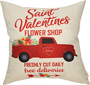 """Fjfz Farmhouse Décor Saint Valentines Flower Shop, Fresh Cut Daily with Vintage Red Truck Cotton Linen Home Decorative Throw Pillow Case Cushion Cover with Words for Lover Couple Sofa Couch, 18"""" x 18"""""""