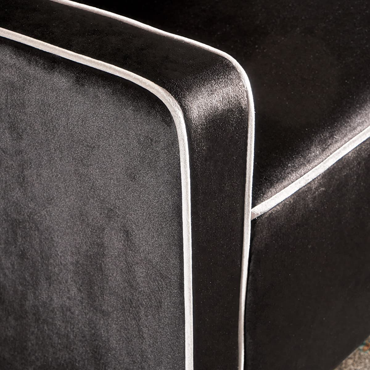 Gianna | Two Tone New Velvet Club Chair with Button-Tufted Accent | in Black with Pearl Accent