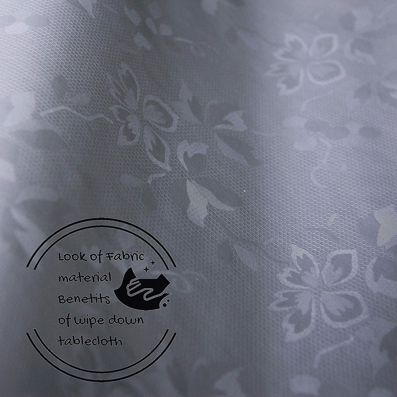 /diversi motivi Grey Flowers on White 79x55in 200 x 140cm Tovaglia lavabile in vinile bianco e grigio/