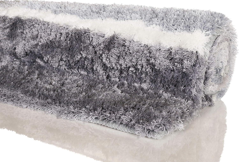 Badematte kuscheliger Flauschiger weicher Flor l rutschfest und Waschbar Rio Marina Homie Living Badteppich 55 x 65 cm, Blau Grau