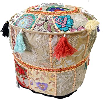 18 Patchwork Vintage Cotton Embroidered Pouf Cover Home Decor Pouf Stool Foot Stool Ottoman Pouffe Pouf Cover Patchwork Pouf Home Decor Art