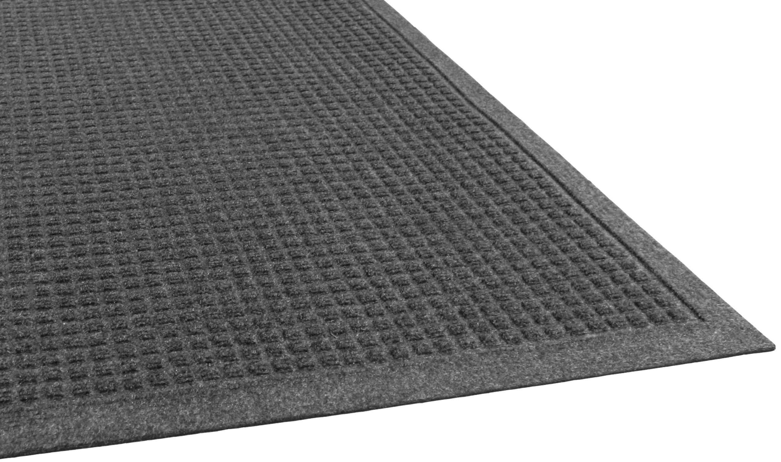 Guardian EcoGuard Indoor Wiper Floor Mat, Recycled Plastic and Rubber, 4' x 10', Charcoal by Guardian