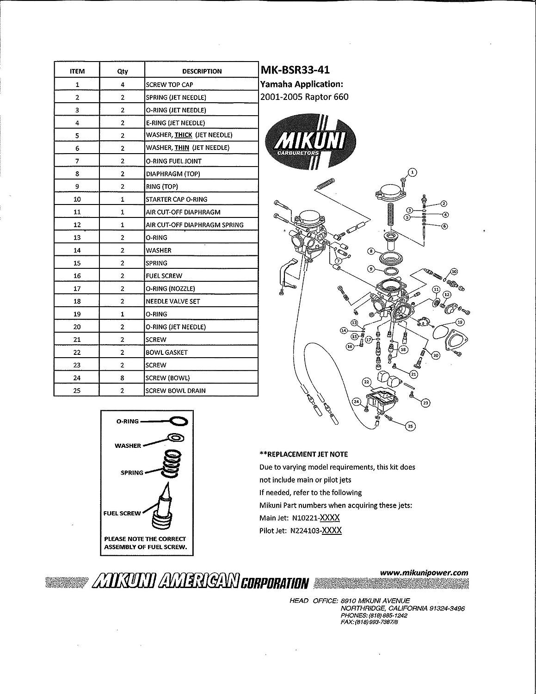 Genuine Mikuni Carburetor Rebuild Kit For 2001 2005 400 Diagram Free Download Wiring Schematic Yamaha Raptor 660 Mk Bsr33 41 Automotive