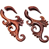 faux ecarteur boucles d 39 oreilles piercing bois ethnique gauge wooden fake wood paire spirale. Black Bedroom Furniture Sets. Home Design Ideas