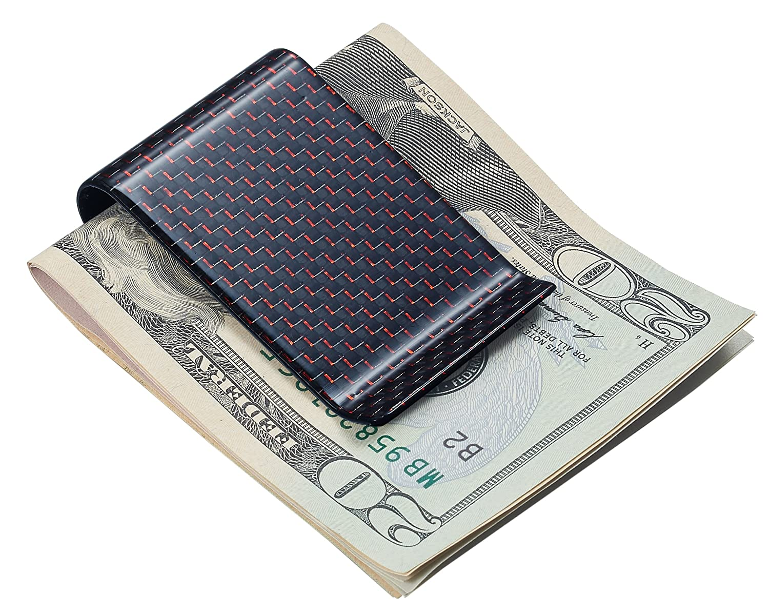 Personalized Red Carbon Fiber Money Clip with Free Engraving up to 3 Initials EN-VMC308RD-RB