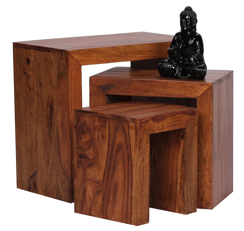 Wohnling 3er Set Satztisch Massivholz Sheesham Wohnzimmer Tisch Landhaus Stil Beistelltisch Naturholz Couchtisch Natur Produkt Wohnzimmermbel Unikat