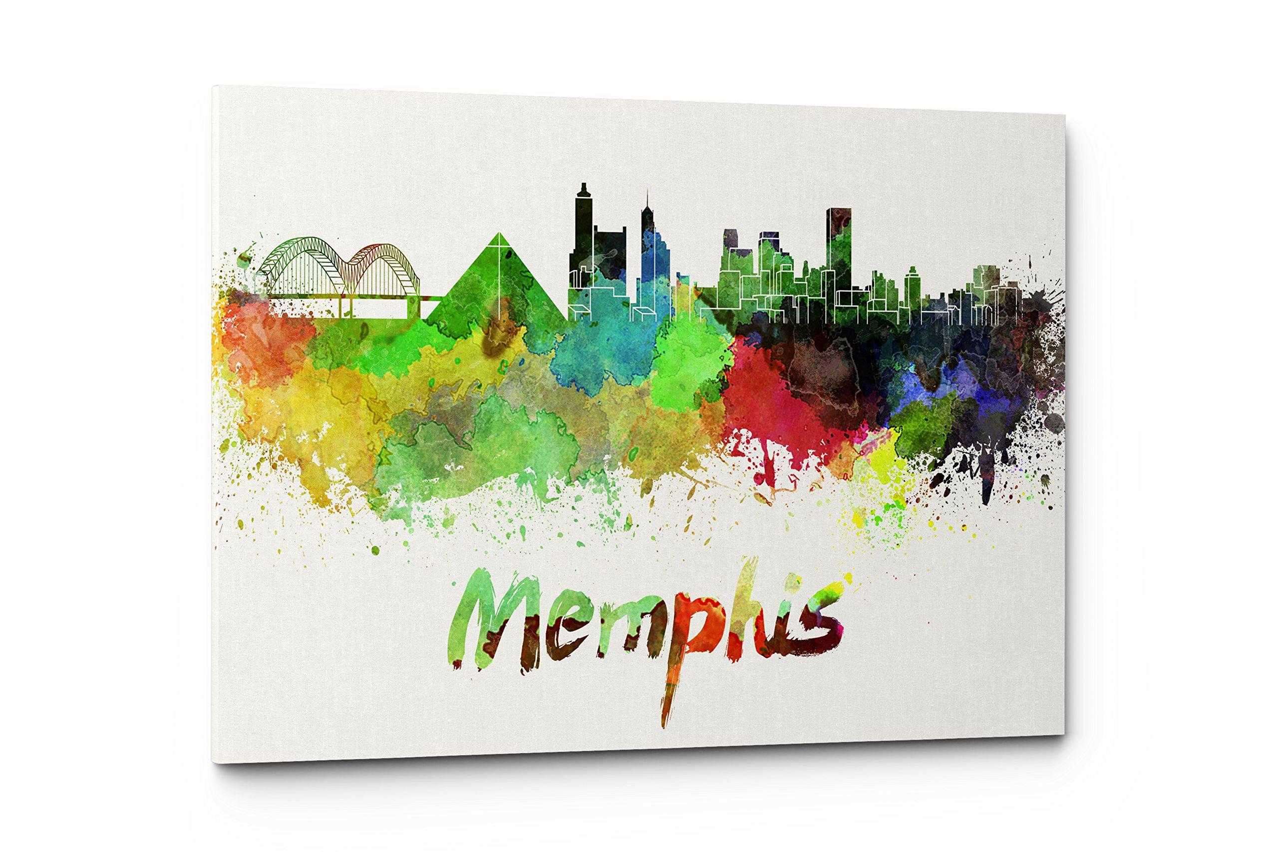 Watercolor City Splash Skyline Wall Art Canvas Print (Memphis)