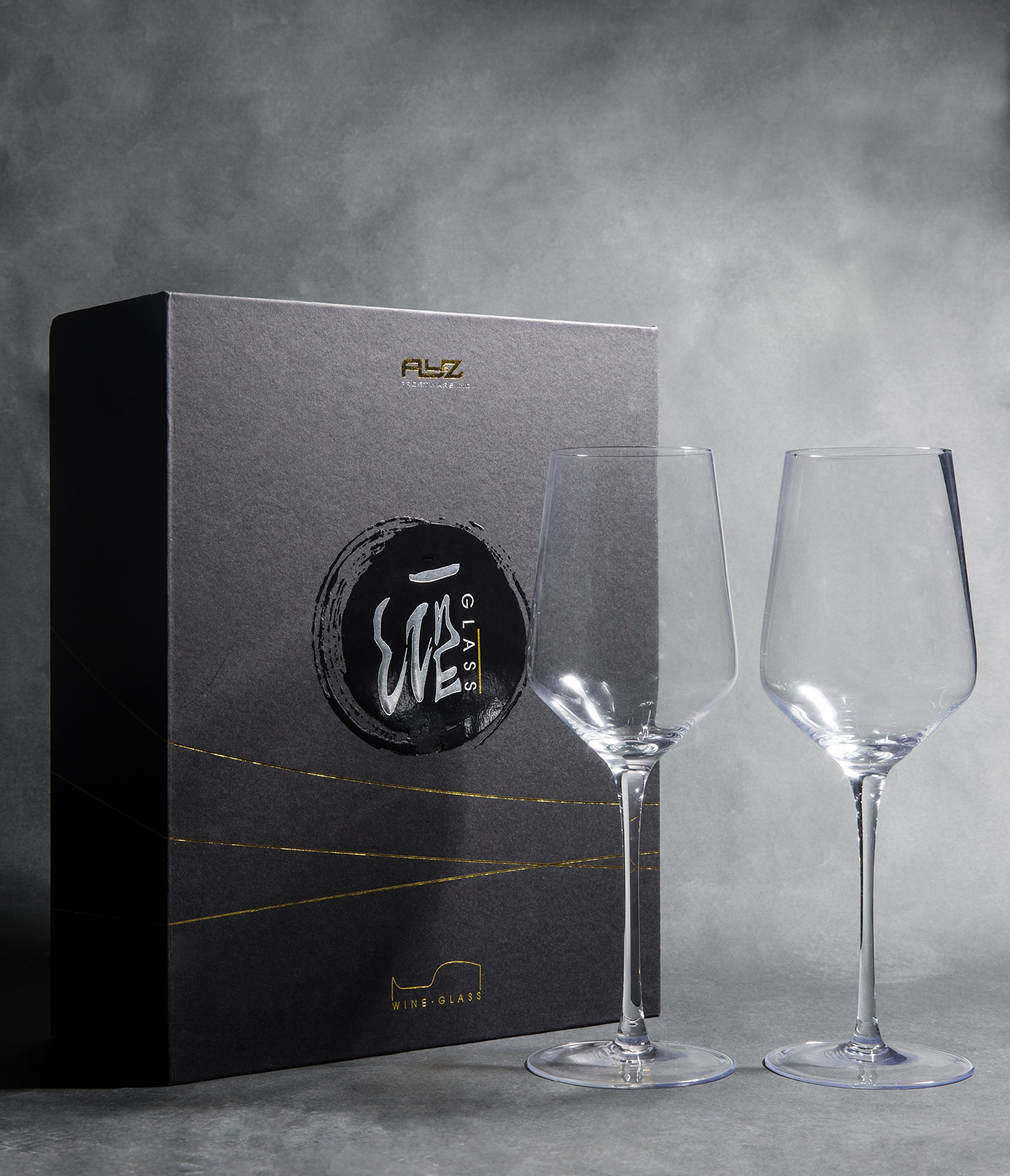 Merry Crystal- Set of 2 Clear Glass Drinking Cups - 17oz Restaurant Style Stemware - Elegant Box by Award Winning Designer with Special Xmas Bag- Unleaded - Dishwasher Safe by AY&Z Frostware (Image #2)
