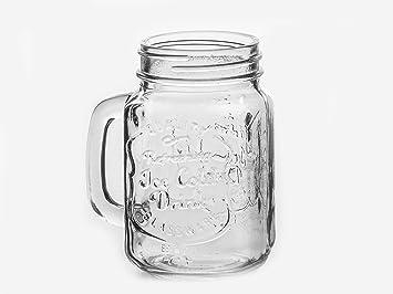 JarsandBottles - Juego de 12 tarros para beber 450 ml, con tapas y pajitas