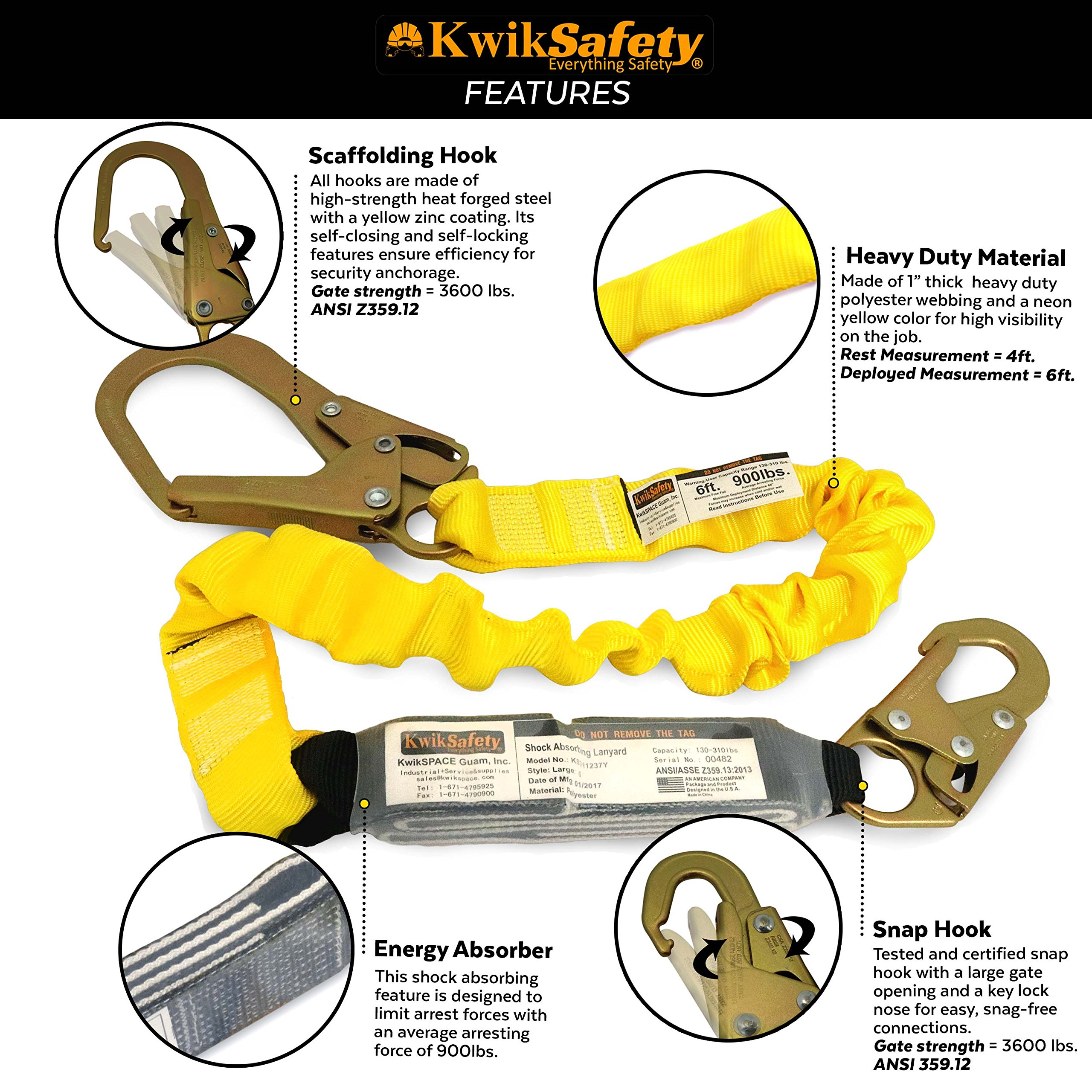 KwikSafety (Charlotte, NC) BOA 4 PACK (External Shock Absorber) Single Leg 6ft Safety Lanyard OSHA ANSI Fall Protection Restraint Equipment Snap Rebar Hook Connectors Construction Arborist Roofing by KwikSafety (Image #3)