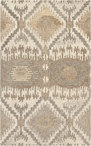 Safavieh Wyndham Collection WYD720A Handmade Natural and Multi Wool Area Rug, 2 feet by 3 feet 2 x 3