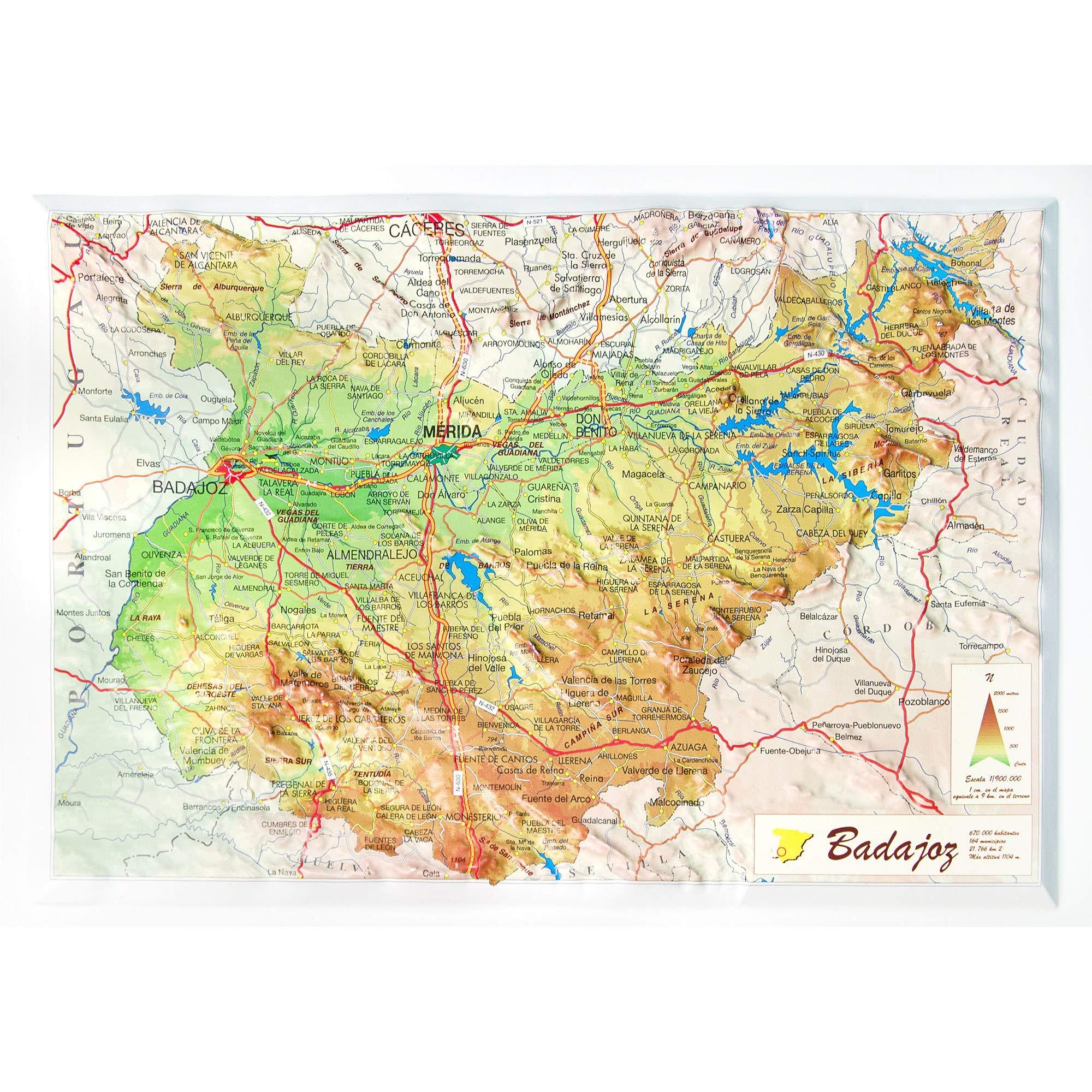 Mapa De Badajoz Capital.Mapa En Relieve De Badajoz Escala 1 900 000 Amazon Es All 3d Form S L Libros