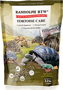 RANDOLPH Best Tortoise Food Care Specific & Therapy Formula for All Turtle Food, Herbivorous Reptile Mixed Vitamins & Mineral, Probiotics, Good Prevent Treatment Healthy Pet 2 Lb. (1 Kg) New Formula
