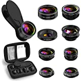 Phone Camera Lens Kit, 9 in 1 Zoom Universal Telephoto Lens+198° Fisheye lens + 0.36 Super Wide Angle Lens + 0.63X Wide Lens