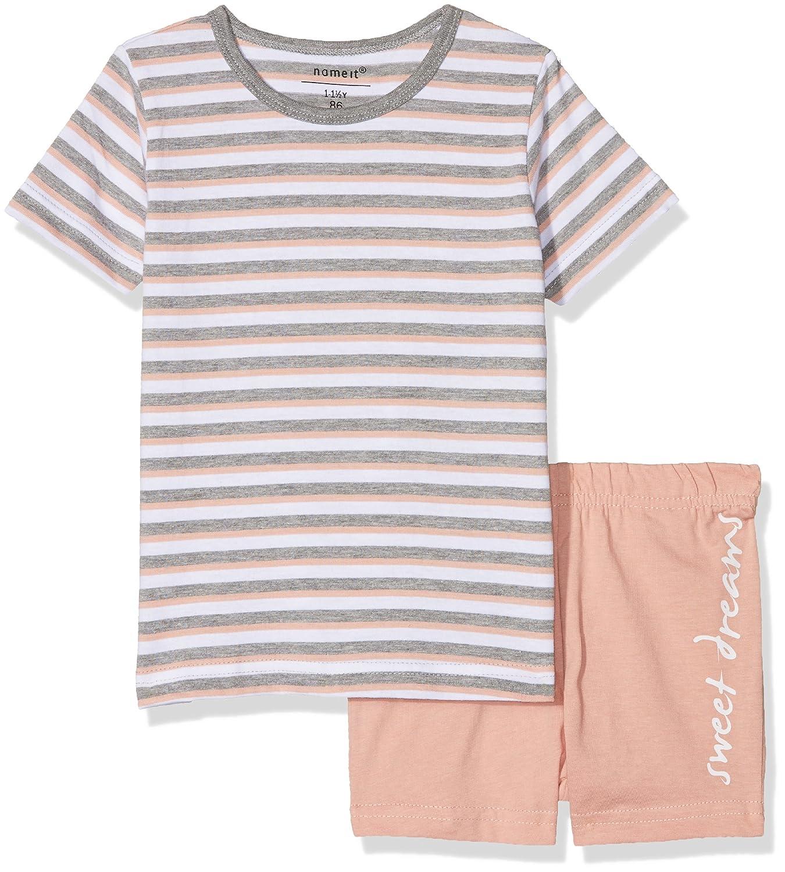 NAME IT Baby-Mädchen Zweiteiliger Schlafanzug Nmfnightset Rose Tan Ss Shorts 13153764