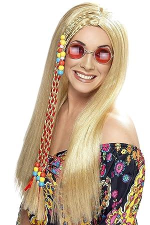 Smiffys Peluca de fiesta hippy, rubia, larga con abalorios ...