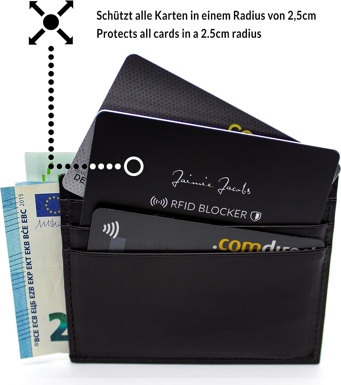 Protezione RFID per carte di credito JAIMIE JACOBS Nero e bianco blocco RFID, blocco NFC, carte di credito contactless