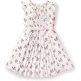 Hope & Henry Girls' Pink Pleated Chiffon Tea Dress