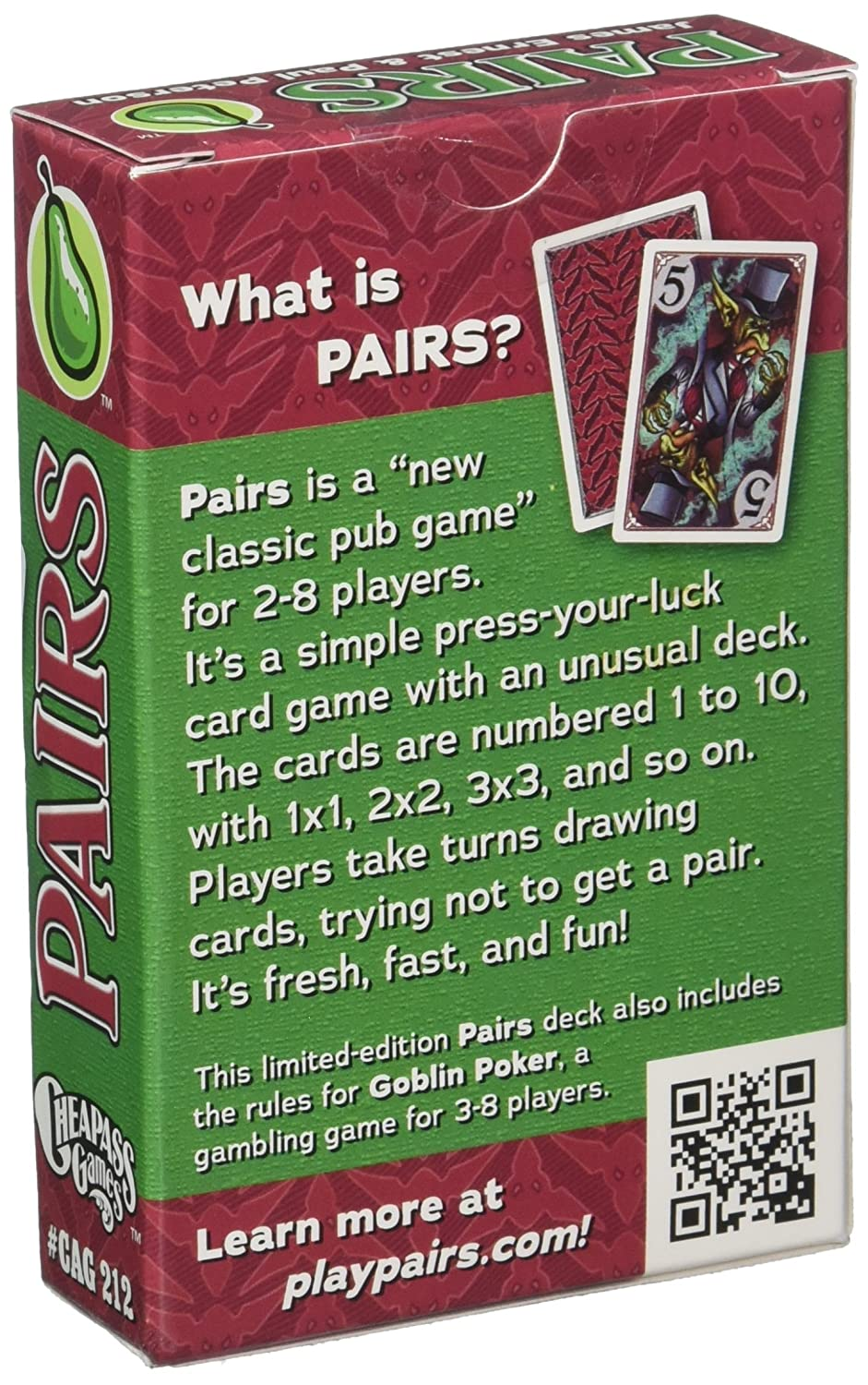 Amazon.com: Pares Goblin Juego de cartas: Toys & Games