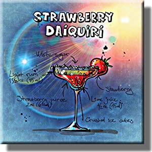 Strawberry Daiquiri Cocktail Recipe Picture on Stretched Canvas, Wall Art Decor, Ready to Hang!