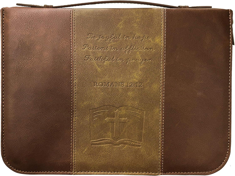 IvyRobes Funda de la Biblia Cruzada para los Hombres Vintage Marrón PU Cuero Durable Cremallera Bolsa de la Biblia Bolsa de Transporte Bolsa de Gran ...