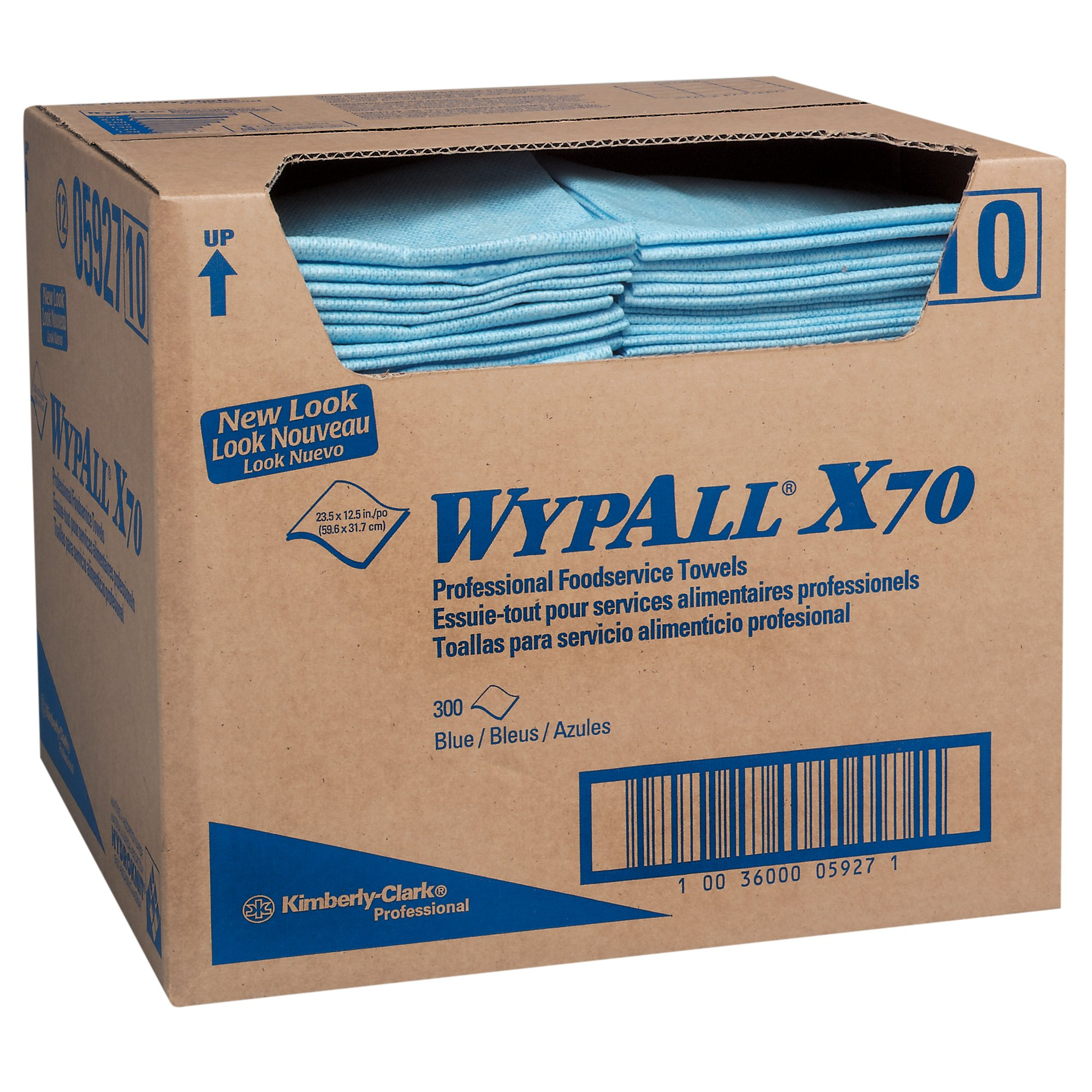WypAll X70 Extended Use Foodservice Towels Reusable Cloths (05927), Quarterfold, Blue, 1 Box, 300 Sheets