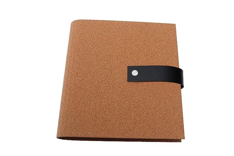 Archivador con cubierta de corcho natural (estructura fina) y cierre de cuero DIN A5 y DIN A4 - Con grabado personalizado: Amazon.es: Handmade