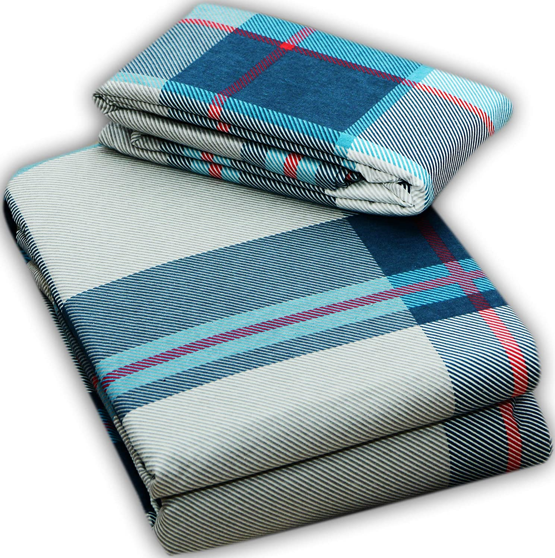 Queen//Size Snowflake Blue FLAROVAN/%100 Cotton Heavyweight Flannel Bed Sheet Set